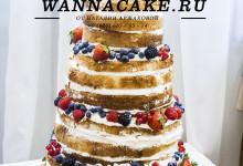 """Огромный пятиярусный десятикилограммовый """"голый"""" торт с ягодами (торт в стиле """"рустик"""")"""